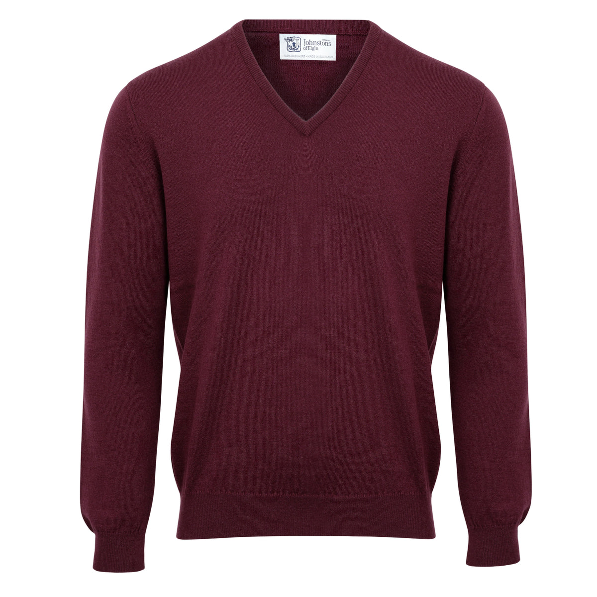 Johnstons of Elgin | Mens 2-Ply Cashmere V Neck | Aubergine Wine | Shop now at The Cashmere Choice | London