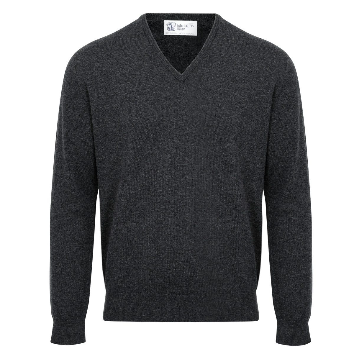 Johnstons of Elgin | Mens 2-Ply Cashmere V Neck | Charcoal Grey | Shop now at The Cashmere Choice | London