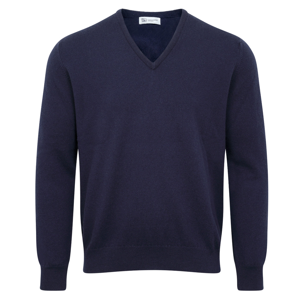Johnstons of Elgin | Mens 2-Ply Cashmere V Neck | Navy Blue | Shop now at The Cashmere Choice | London