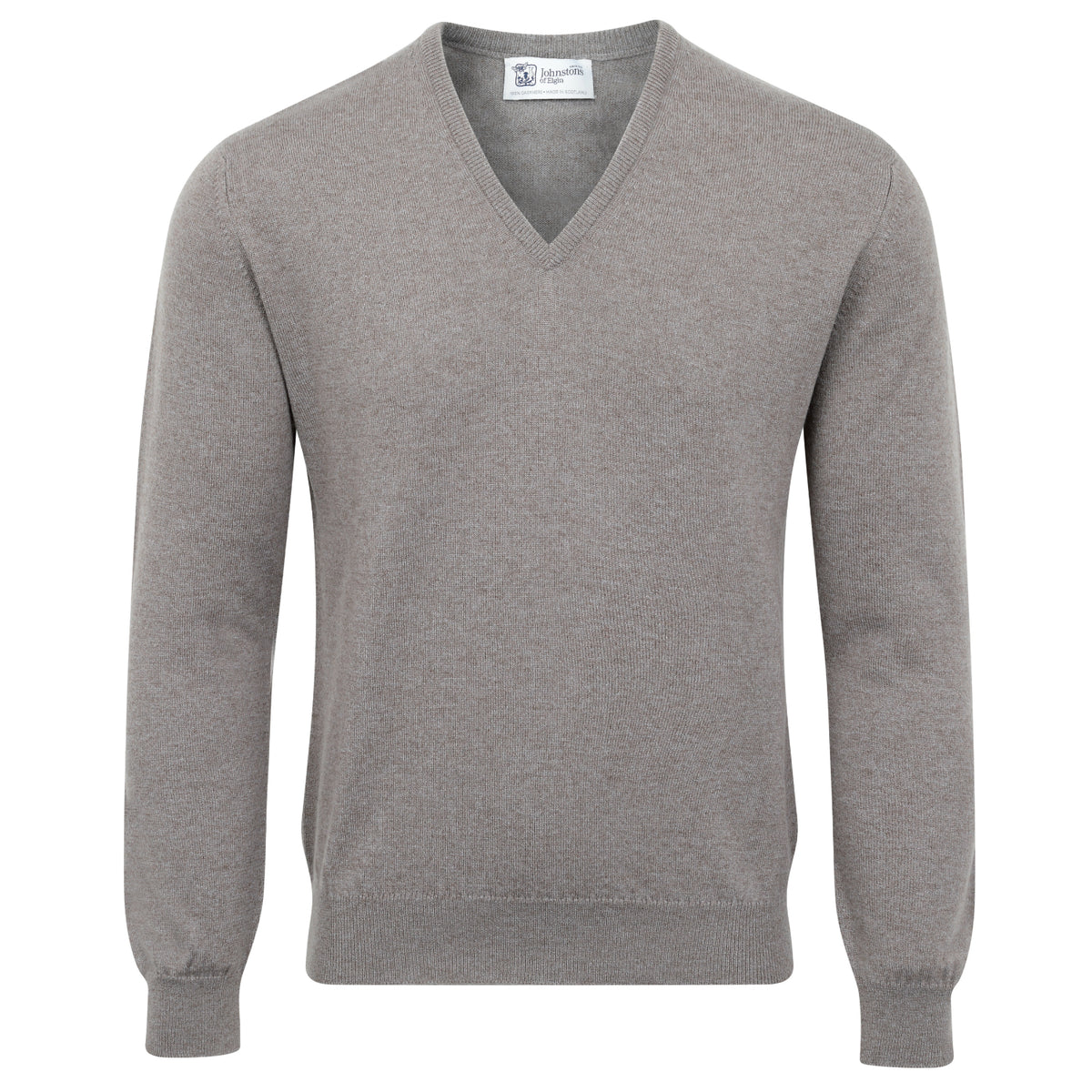 Johnstons of Elgin | Mens 2-Ply Cashmere V Neck | Sparrow Beige | Shop now at The Cashmere Choice | London