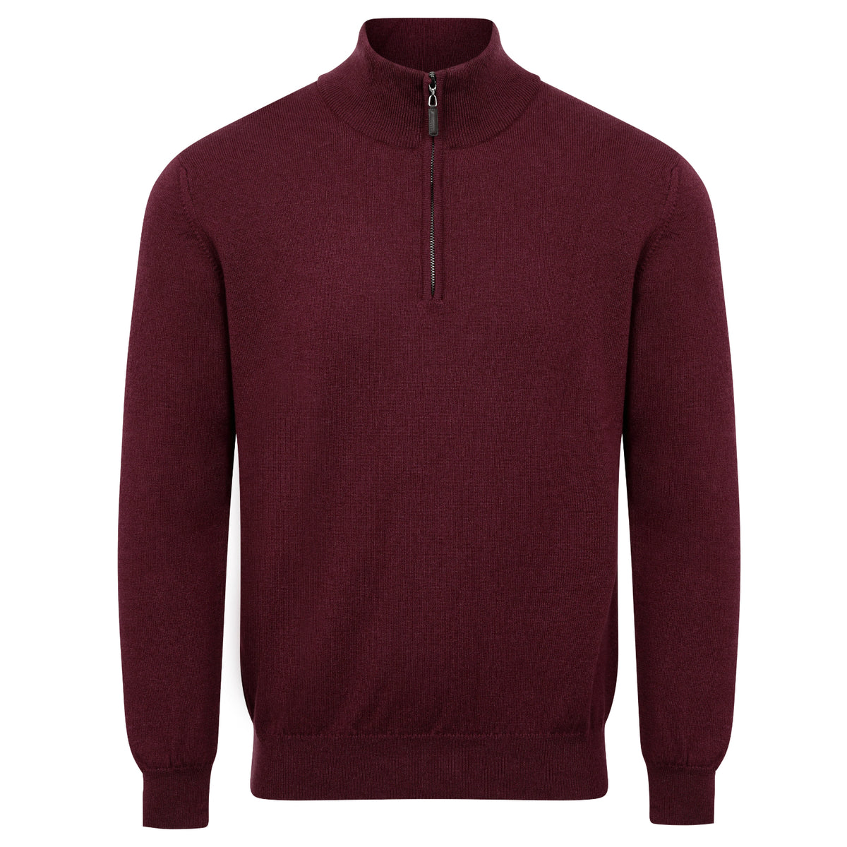 Johnstons of Elgin | Mens 2-Ply Cashmere Zip Turtle Neck | Aubergine Wine | Shop now at The Cashmere Choice | London