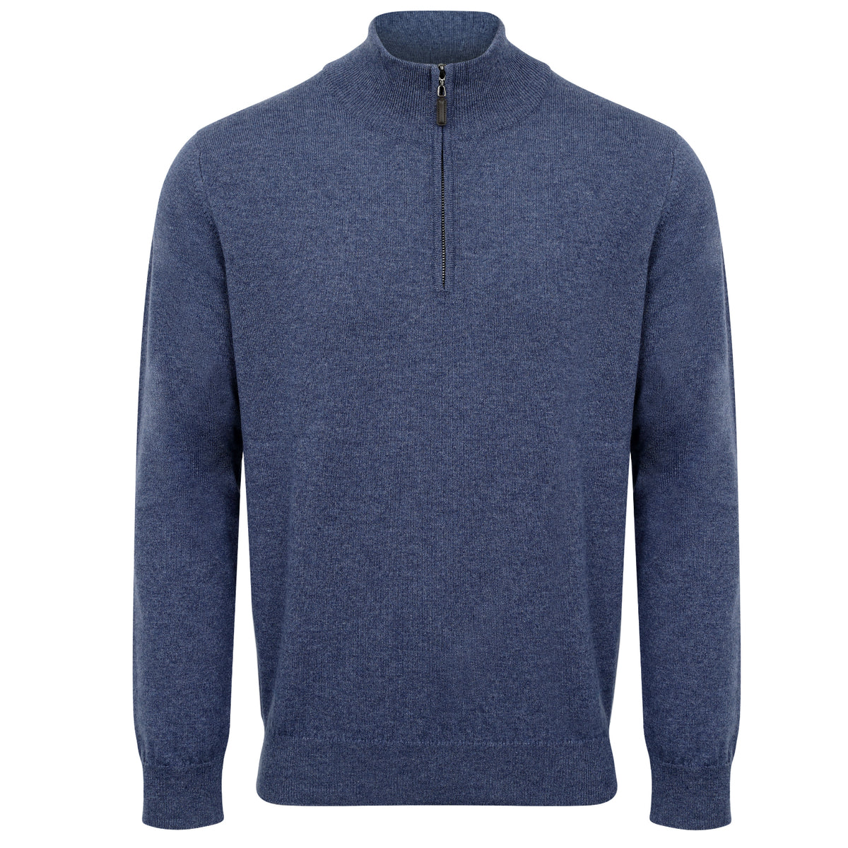 Johnstons of Elgin | Mens 2-Ply Cashmere Zip Turtle Neck | Blue | Shop now at The Cashmere Choice | London