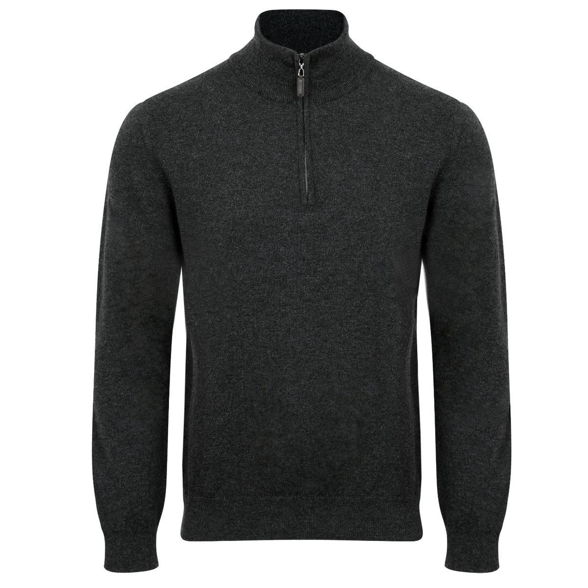 Johnstons of Elgin | Mens 2-Ply Cashmere Zip Turtle Neck | Charcoal Grey | Shop now at The Cashmere Choice | London