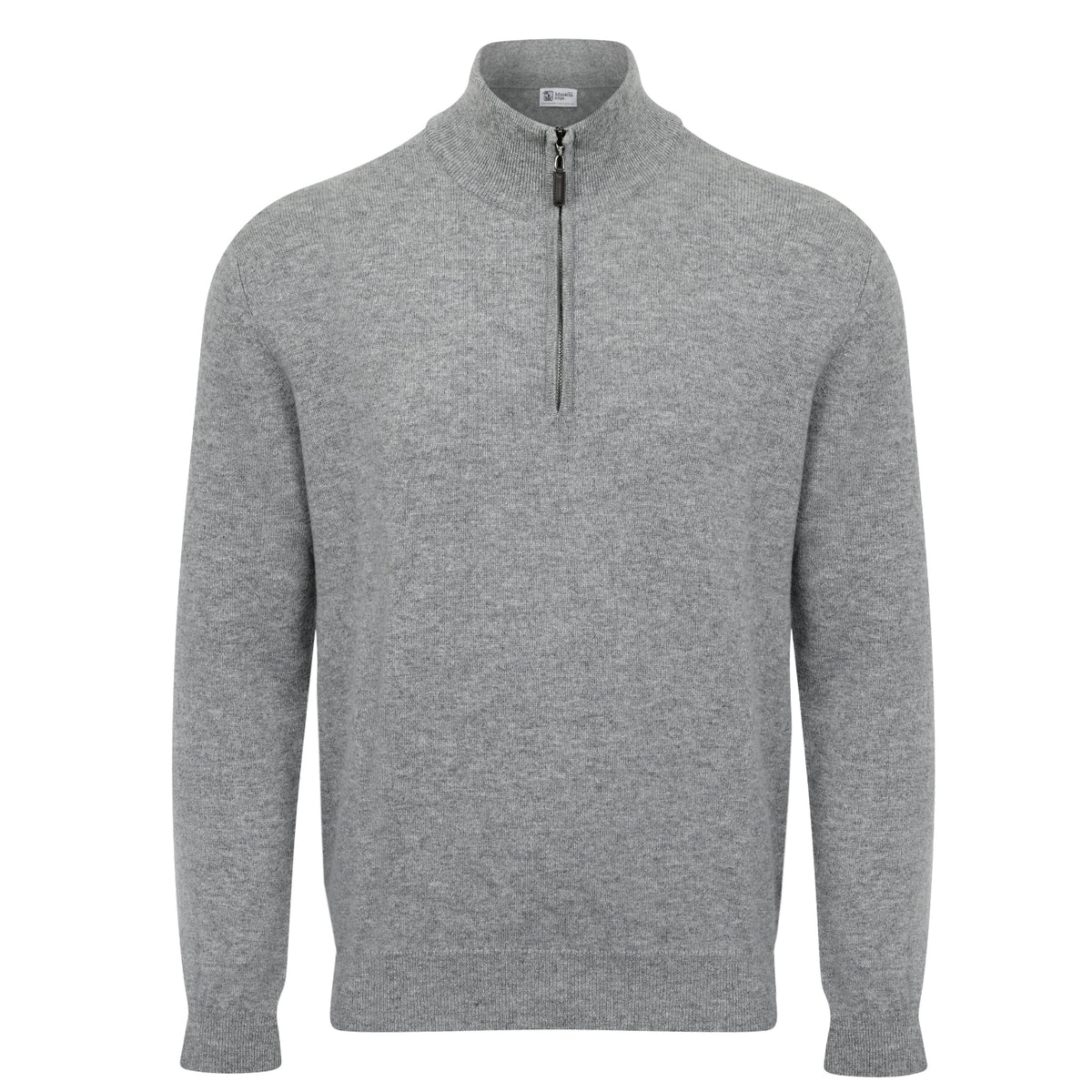 Johnstons of Elgin | Mens 2-Ply Cashmere Zip Turtle Neck | Light Grey | Shop now at The Cashmere Choice | London