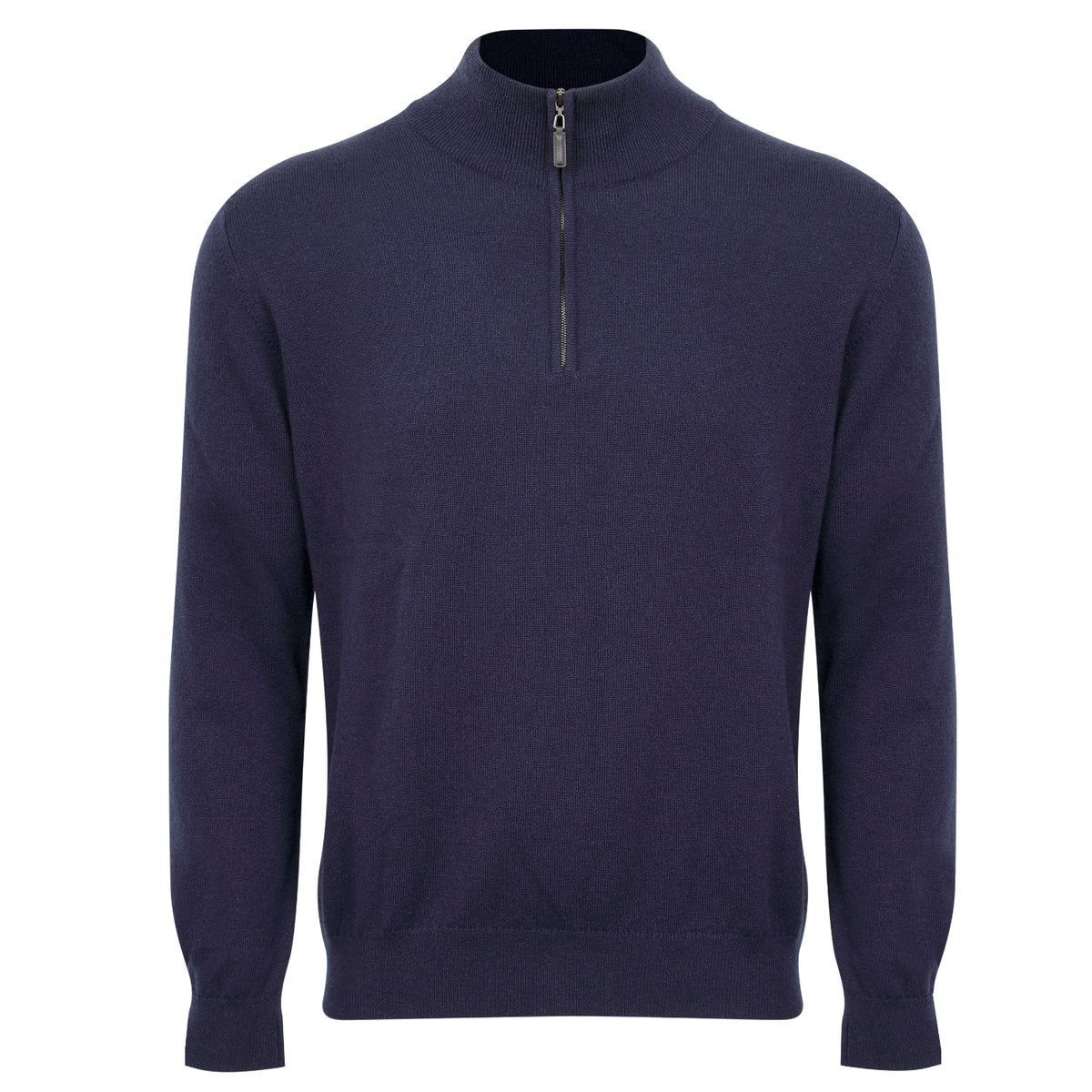Johnstons of Elgin | Mens 2-Ply Cashmere Zip Turtle Neck | Navy Blue | Shop now at The Cashmere Choice | London