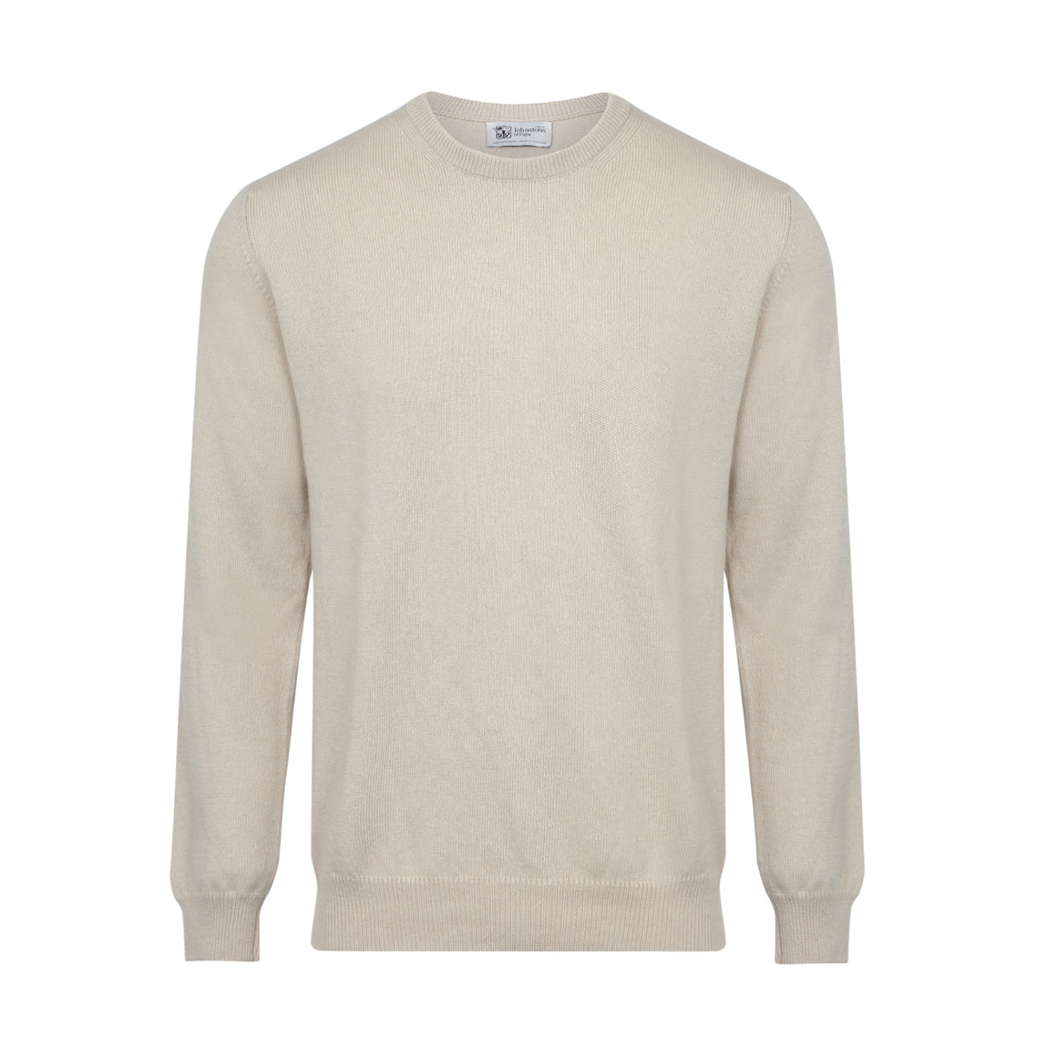 Johnsons Cashmere | Mens Beige Cashmere Sweater | 3 ply Cashmere | shop now at The Cashmere Choice | London