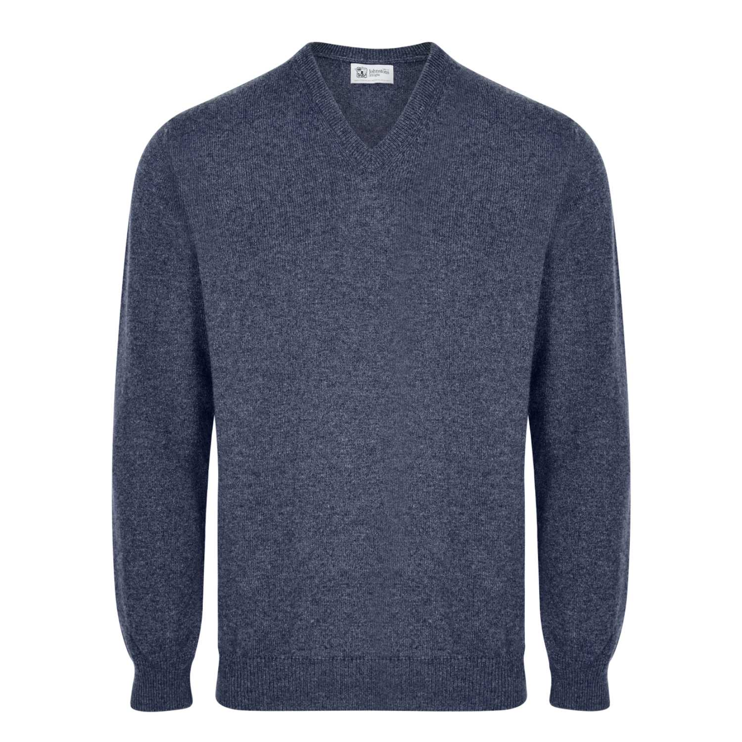 Johnsons Cashmere | Mens Navy Blue Cashmere Sweater | 3 ply Cashmere | buy at The Cashmere Choice | London