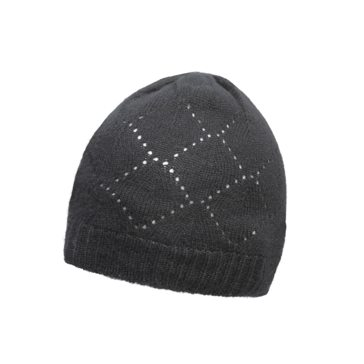 Black Pointelle Knit | Pure Cashmere Beanie | Johnstons Cashmere | shop now at The Cashmere Choice London
