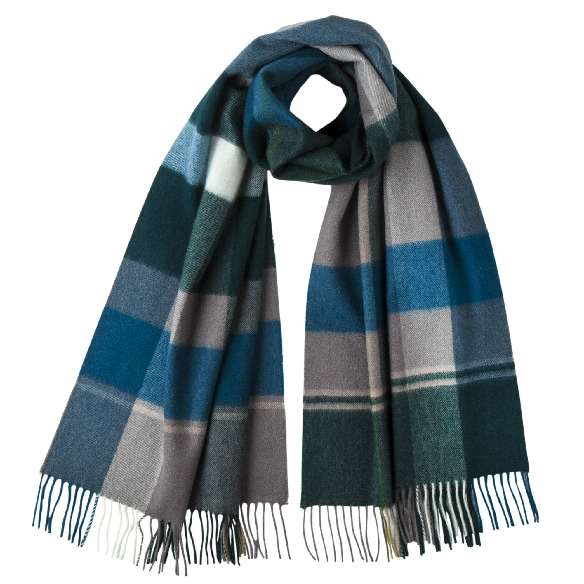 Johnsons of Elgin | Peakcock Blue and Green Large Cashmere Scarf | buy at The Cashmere Choice | London