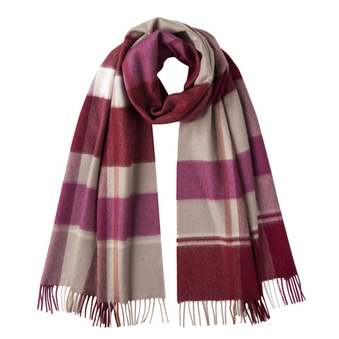Johnsons of Elgin | Pick Wine Check Large Cashmere Scarf | buy at The Cashmere Choice | London