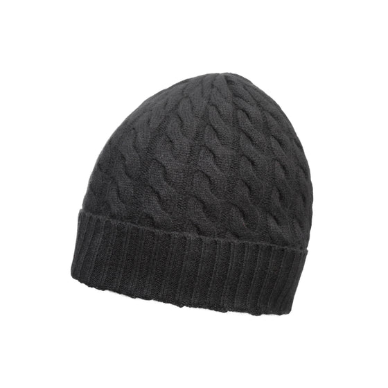 Black Cable Knit | Pure Cashmere Beanie | shop now at The Cashmere Choice London
