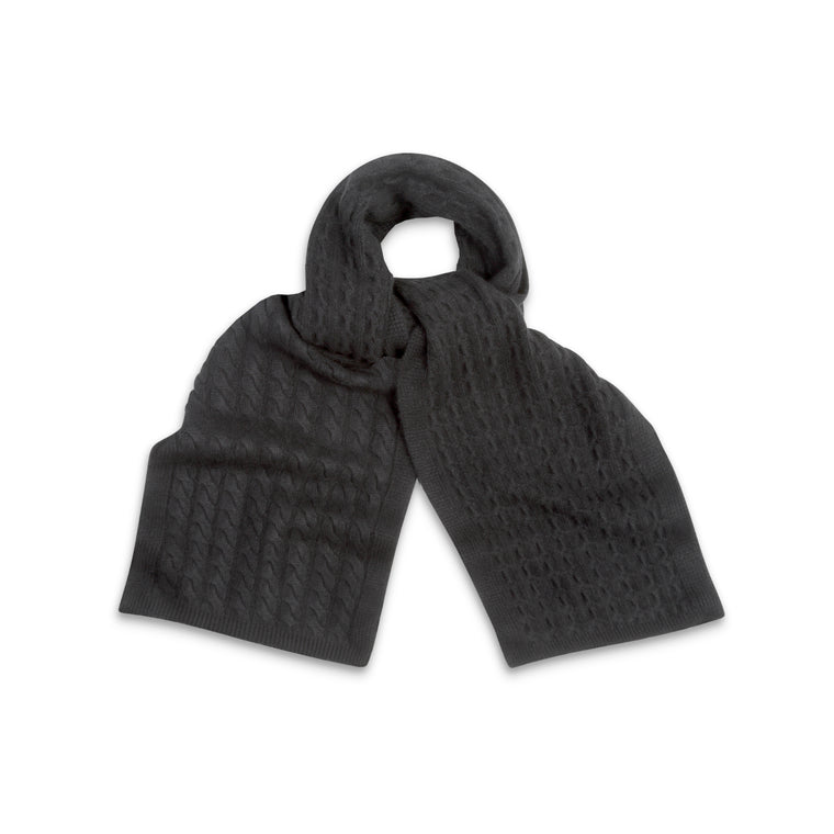 Black Cable Knit | Pure Cashmere Scarf | shop now at The Cashmere Choice London