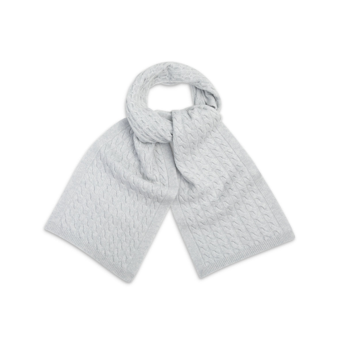 Organic White Cable Knit | Pure Cashmere Scarf | shop now at The Cashmere Choice London