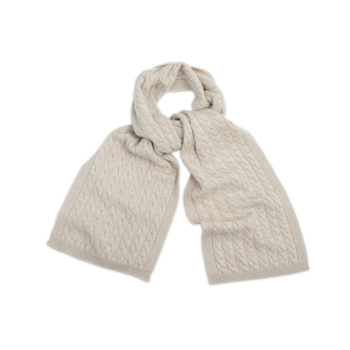 Organic Brown Beige Cable Knit | Pure Cashmere Scarf | shop now at The Cashmere Choice London