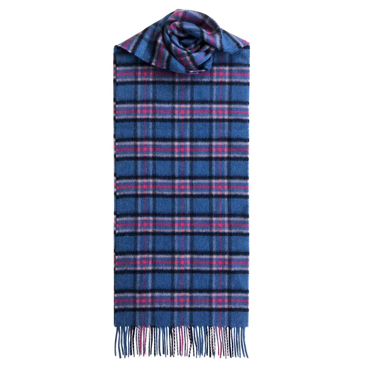 Lomond Cashmere | Blue Pink | Check Cashmere Scarf With Fringes | Made in Scotland | Shop at The Cashmere Choice | London