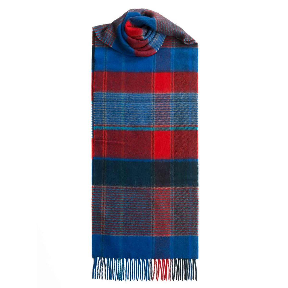 Lomond Cashmere | Red Blue | Check Cashmere Scarf With Fringes | Made in Scotland | Shop at The Cashmere Choice | London