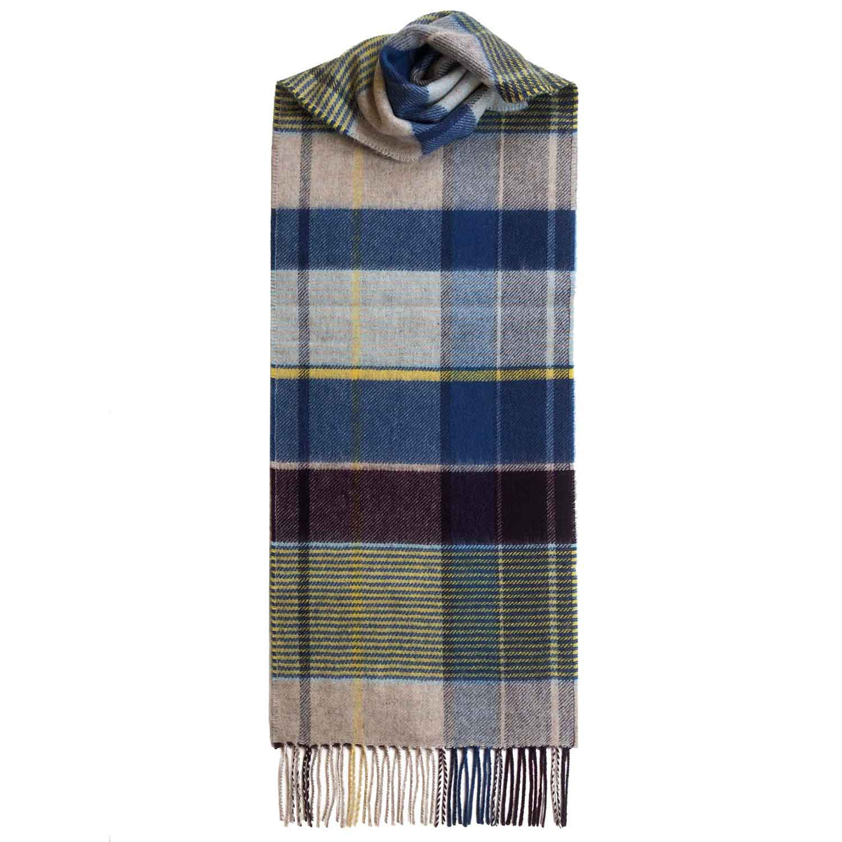 Lomond Cashmere | Beige Blue | Check Cashmere Scarf With Fringes | Made in Scotland | Shop at The Cashmere Choice | London