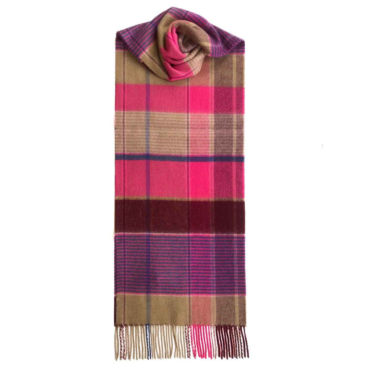 Lomond Cashmere | Beige Pink | Check Cashmere Scarf With Fringes | Made in Scotland | Shop at The Cashmere Choice | London