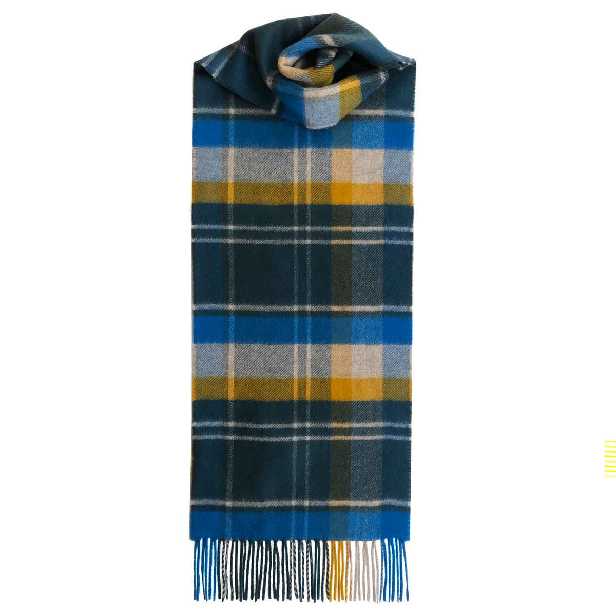 Lomond Cashmere | Blue Mustard Yellow | Check Cashmere Scarf With Fringes | Made in Scotland | Shop at The Cashmere Choice | London