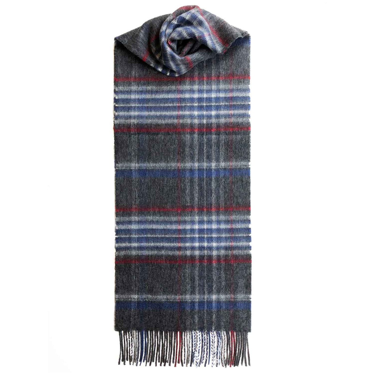 Lomond Cashmere | Grey Red | Check Cashmere Scarf With Fringes | Made in Scotland | Shop at The Cashmere Choice | London