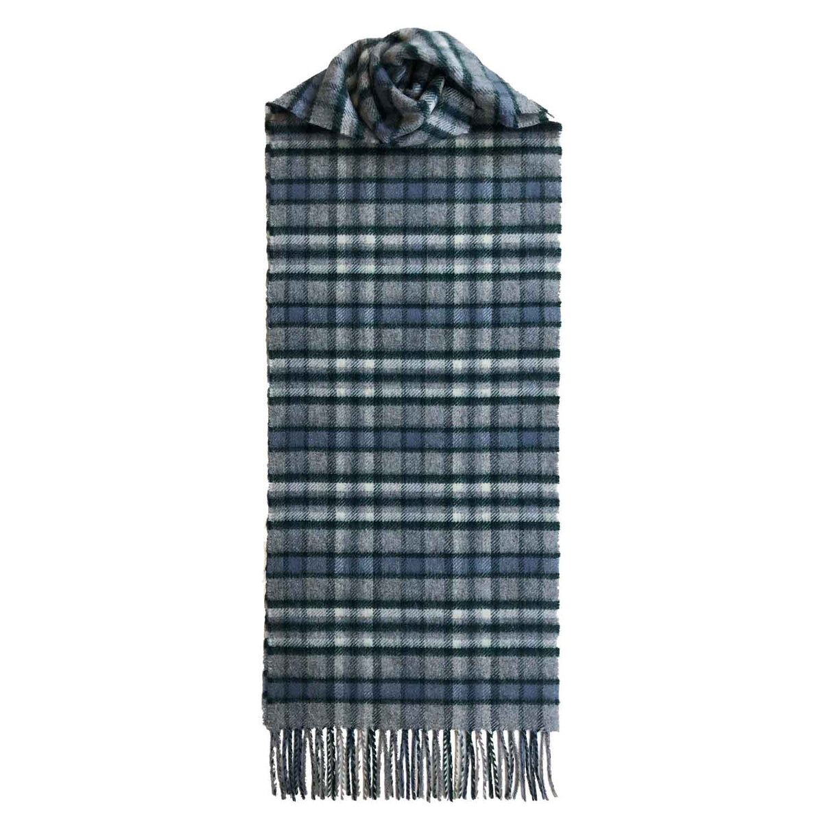 Lomond Cashmere | Grey Green | Check Cashmere Scarf With Fringes | Made in Scotland | Shop at The Cashmere Choice | London