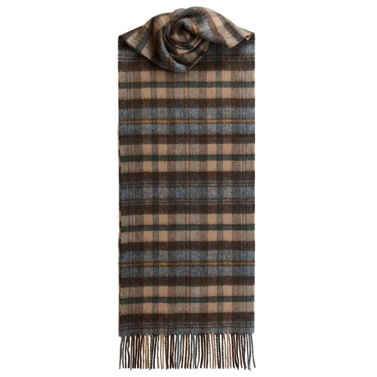 Lomond Cashmere | Brown Grey | Check Cashmere Scarf With Fringes | Made in Scotland | Shop at The Cashmere Choice | London