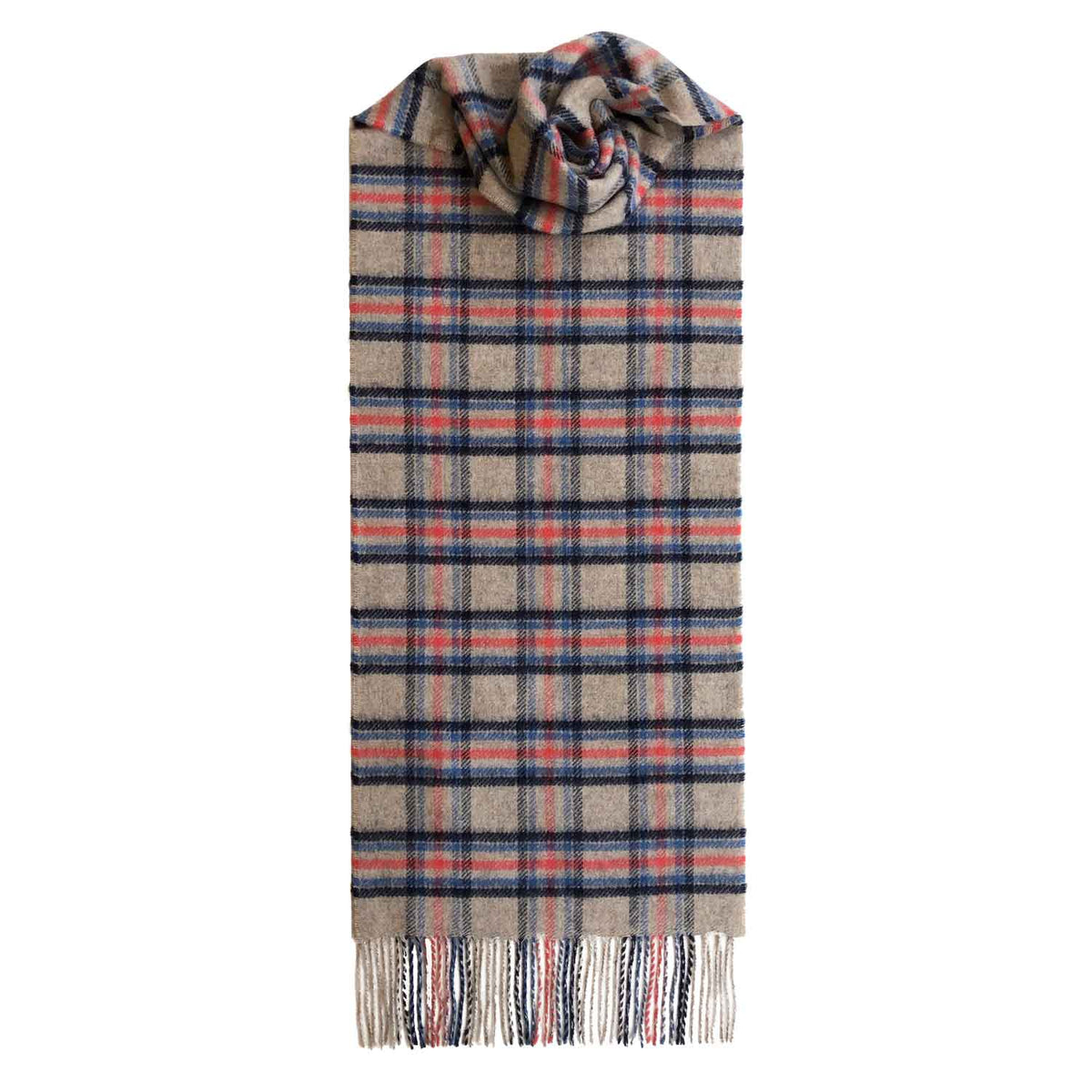 Lomond Cashmere | Beige Navy Pink | Check Cashmere Scarf With Fringes | Made in Scotland | Shop at The Cashmere Choice | London