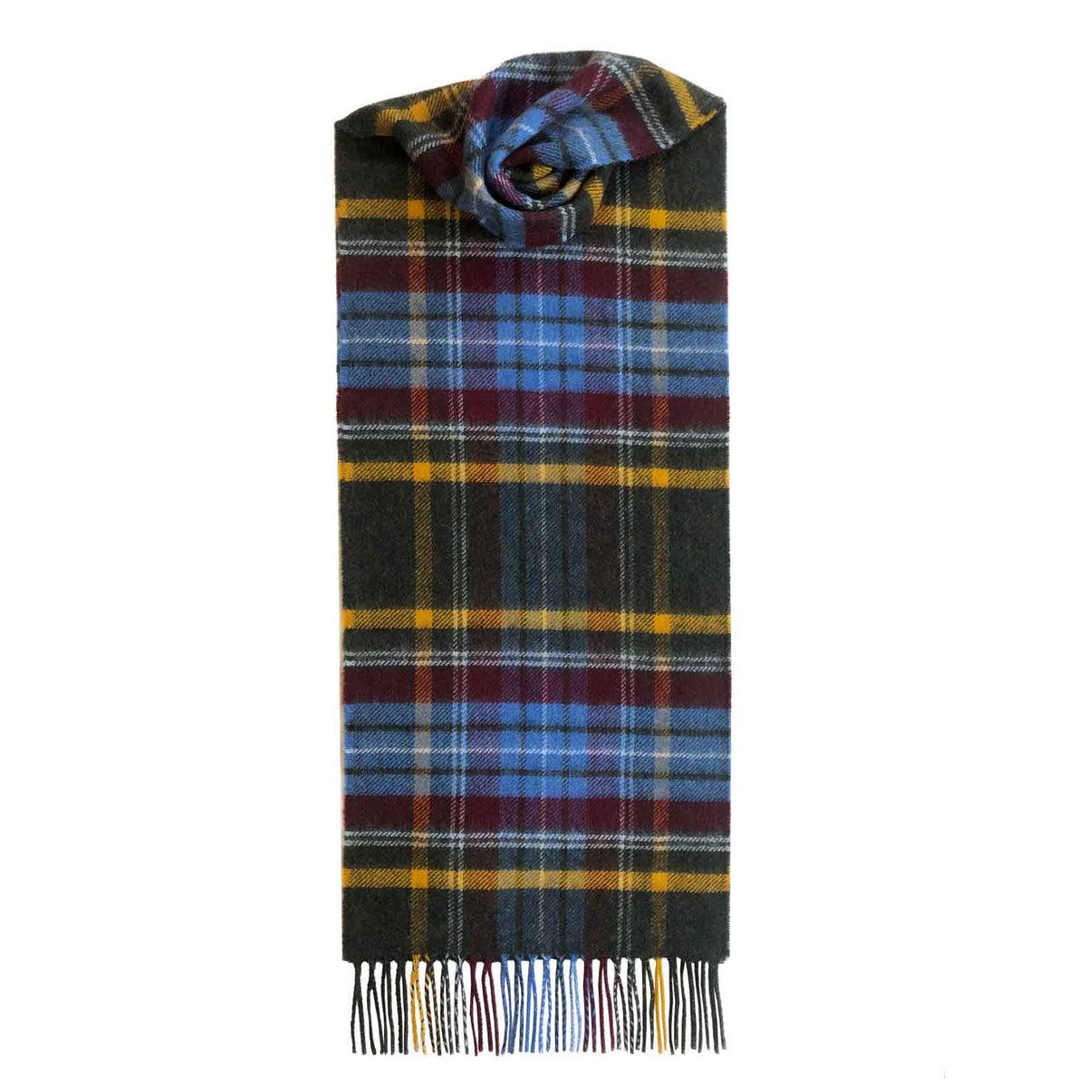 Lomond Cashmere | Brown Yellow | Check Cashmere Scarf With Fringes | Made in Scotland | Shop at The Cashmere Choice | London