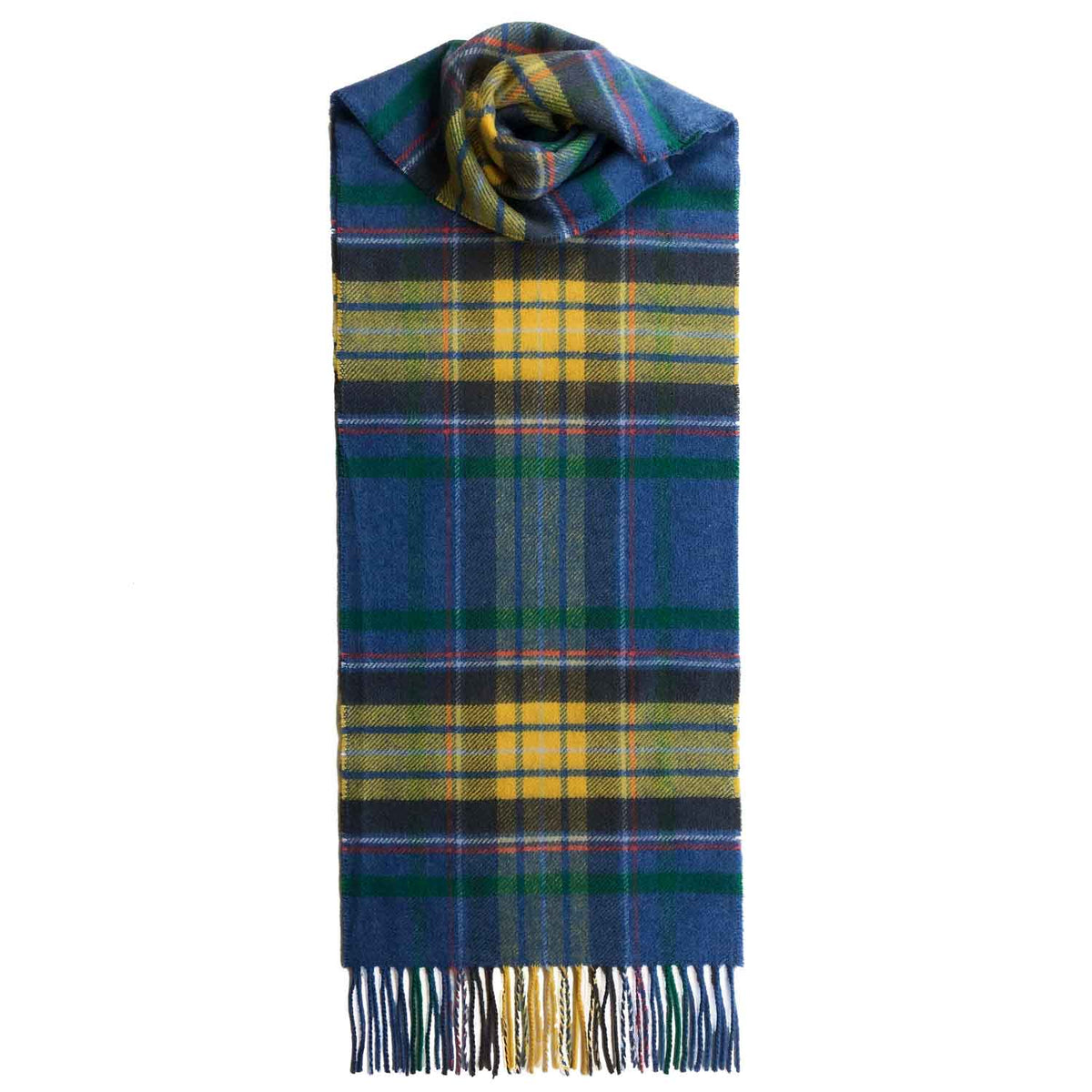 Lomond Cashmere | Blue Yellow | Check Cashmere Scarf With Fringes | Made in Scotland | Shop at The Cashmere Choice | London