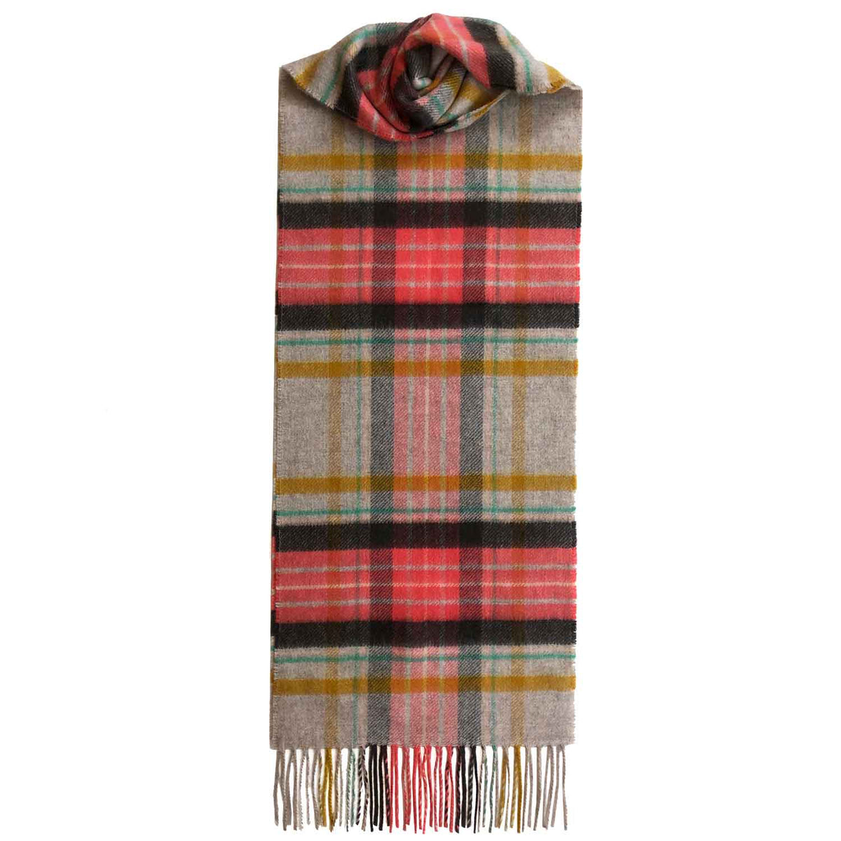 Lomond Cashmere | Beige Yellow Coral | Check Cashmere Scarf With Fringes | Made in Scotland | Shop at The Cashmere Choice | London