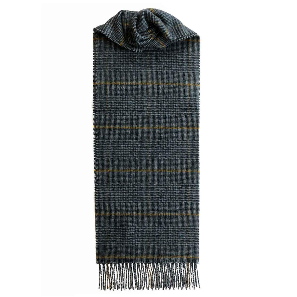 Lomond Cashmere | Grey Yellow | Check Cashmere Scarf With Fringes | Made in Scotland | Shop at The Cashmere Choice | London