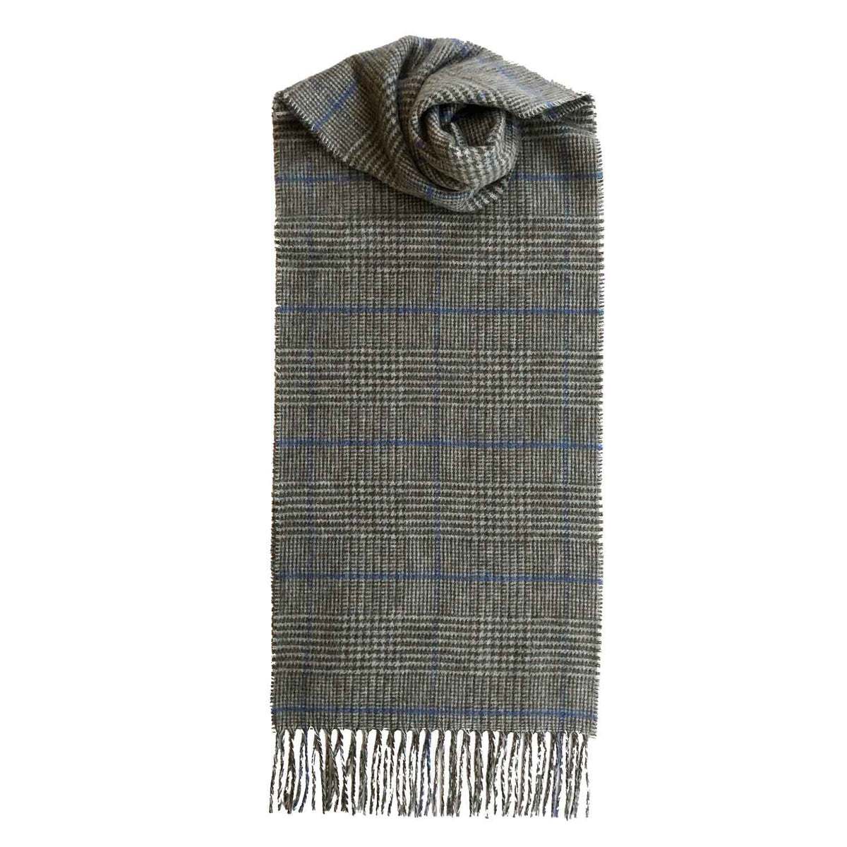 Lomond Cashmere | Brown Blue | Check Cashmere Scarf With Fringes | Made in Scotland | Shop at The Cashmere Choice | London