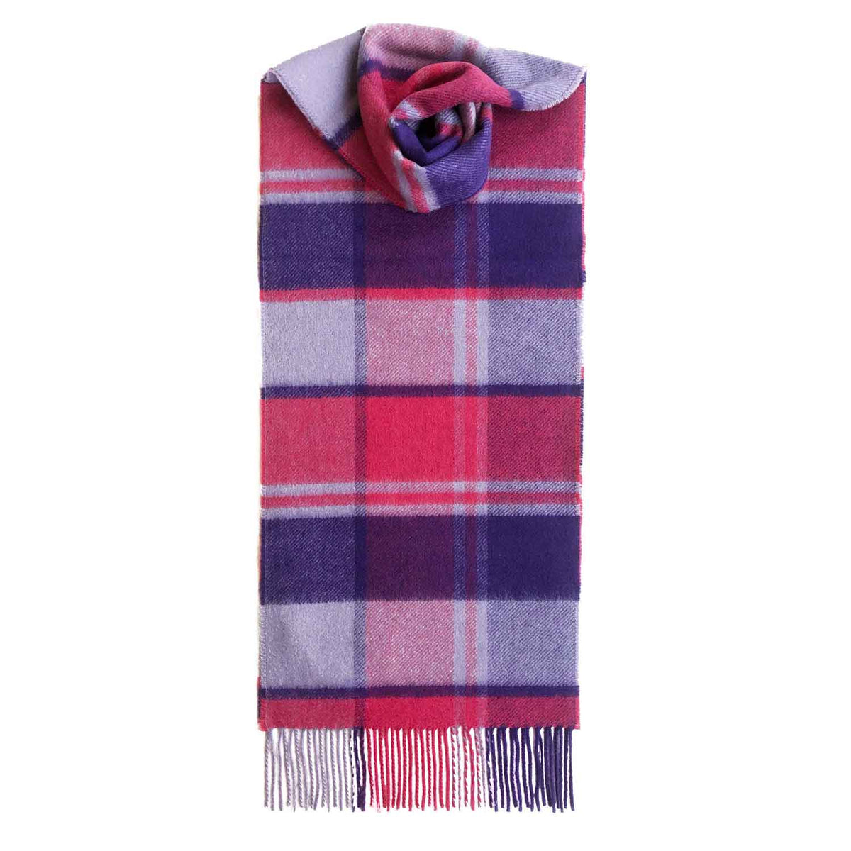 Lomond Cashmere | Purple Pink | Check Cashmere Scarf With Fringes | Made in Scotland | Shop at The Cashmere Choice | London