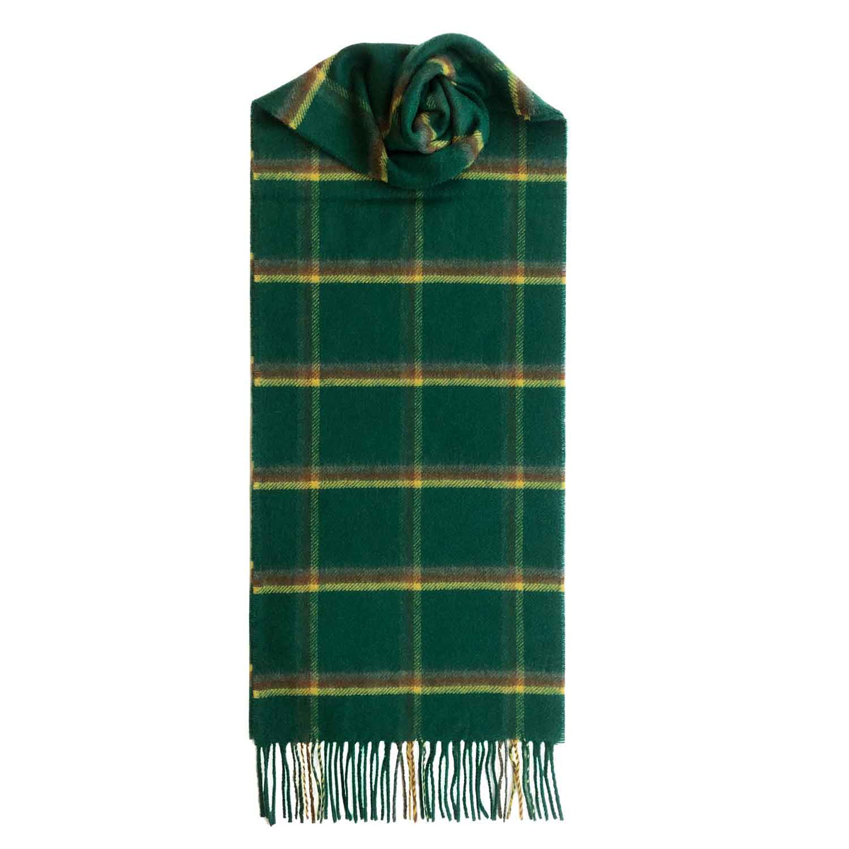 Lomond Cashmere | Green Yellow | Check Cashmere Scarf With Fringes | Made in Scotland | Shop at The Cashmere Choice | London