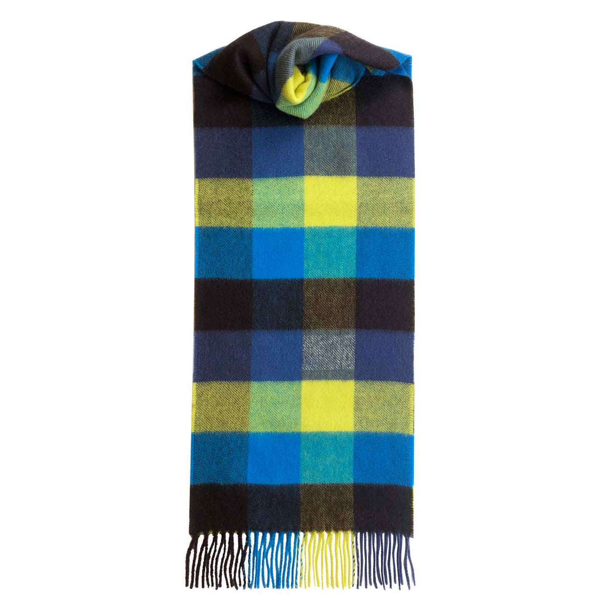 Lomond Cashmere | Bright Blue Yellow | Check Cashmere Scarf With Fringes | Made in Scotland | Shop at The Cashmere Choice | London