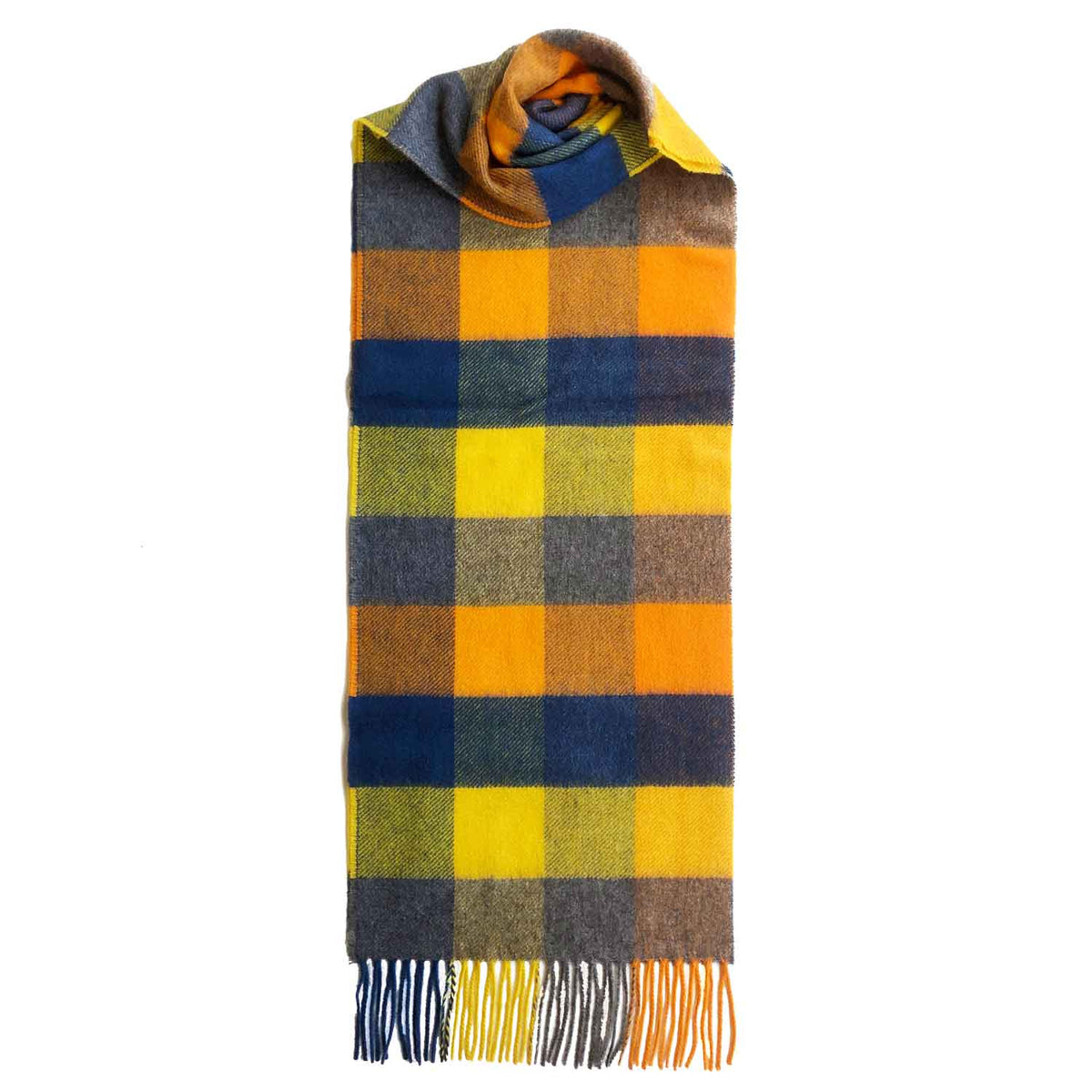 Lomond Cashmere | Yellow Blue | Check Cashmere Scarf With Fringes | Made in Scotland | Shop at The Cashmere Choice | London