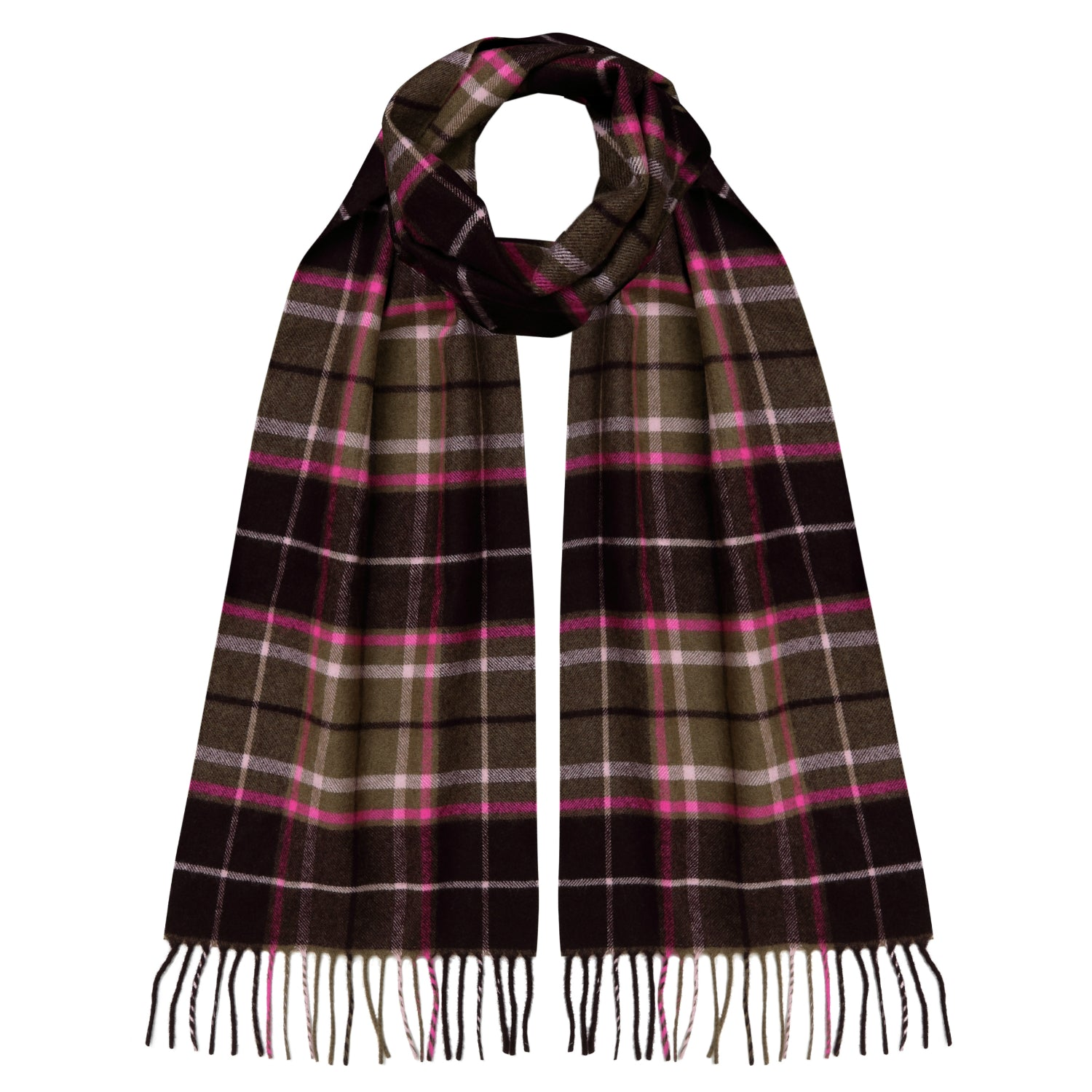 Lomond Cashmere | Bottle Green Overcheck | Check Cashmere Scarf | Shop at The Cashmere Choice | London