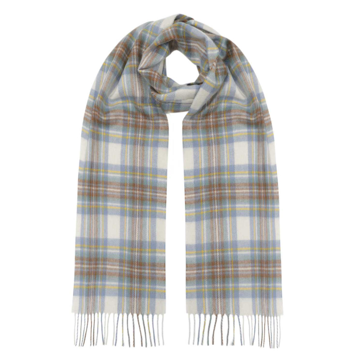 Lomond Cashmere | Muted Blue Dress Stewart | Sottish Tartan Cashmere Scarf | Shop at The Cashmere Choice | London
