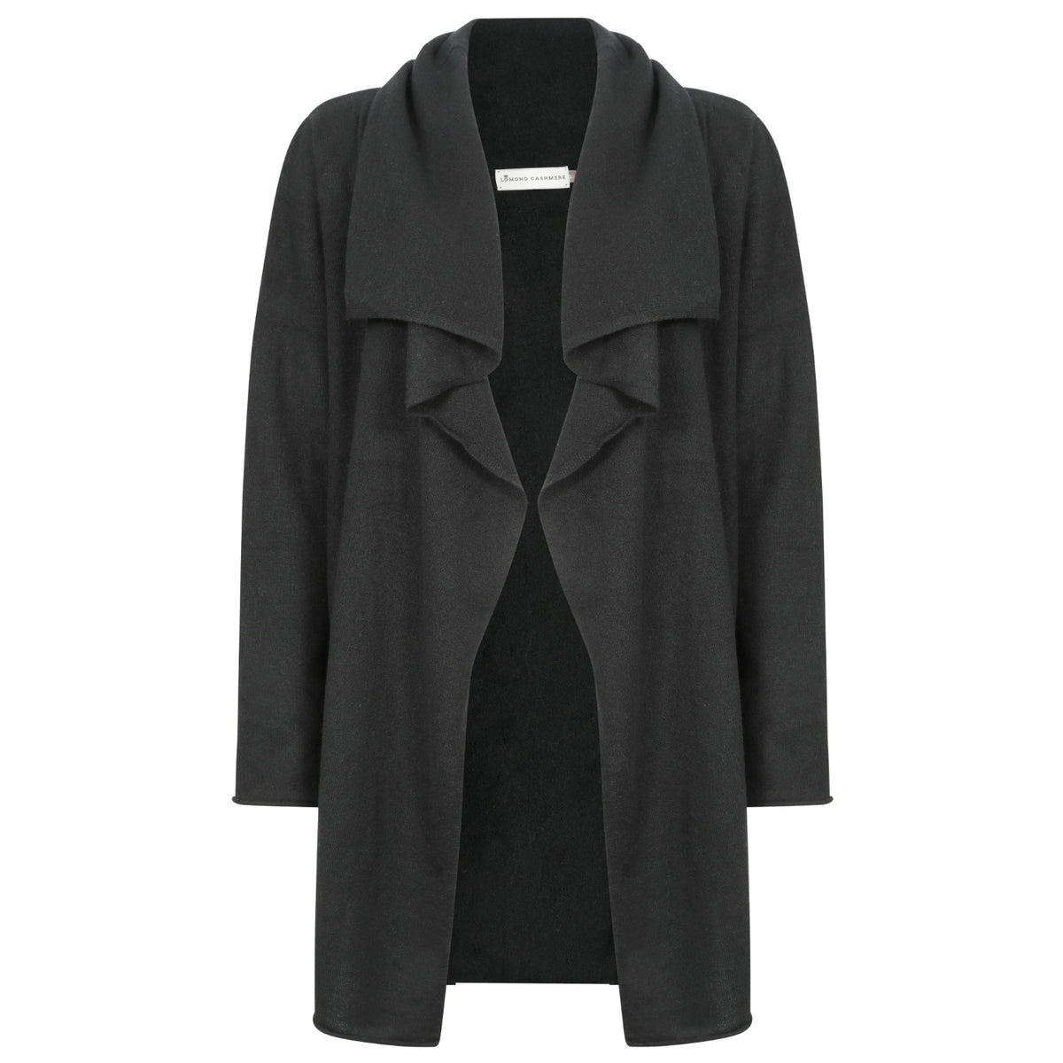 Ladies Open Long Waterfall Cashmere Cardigan | Black | Shop at The Cashmere Choice | London
