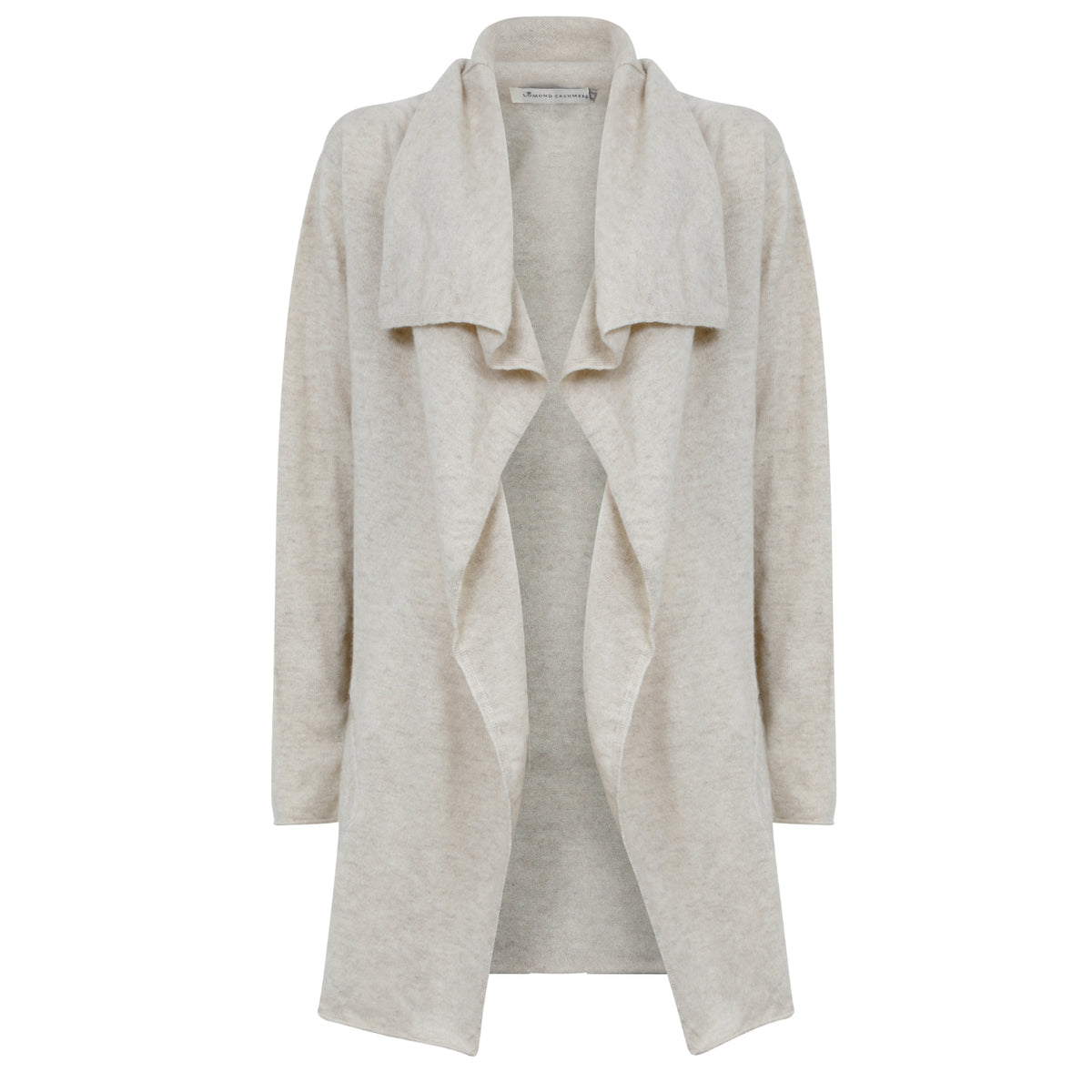 Ladies Open Long Waterfall Cashmere Cardigan | Cygnet Beige | Shop at The Cashmere Choice | London