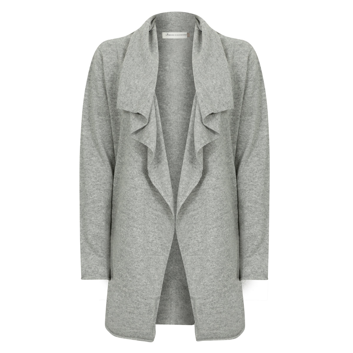 Ladies Open Long Waterfall Cashmere Cardigan | Grey | Shop at The Cashmere Choice | London