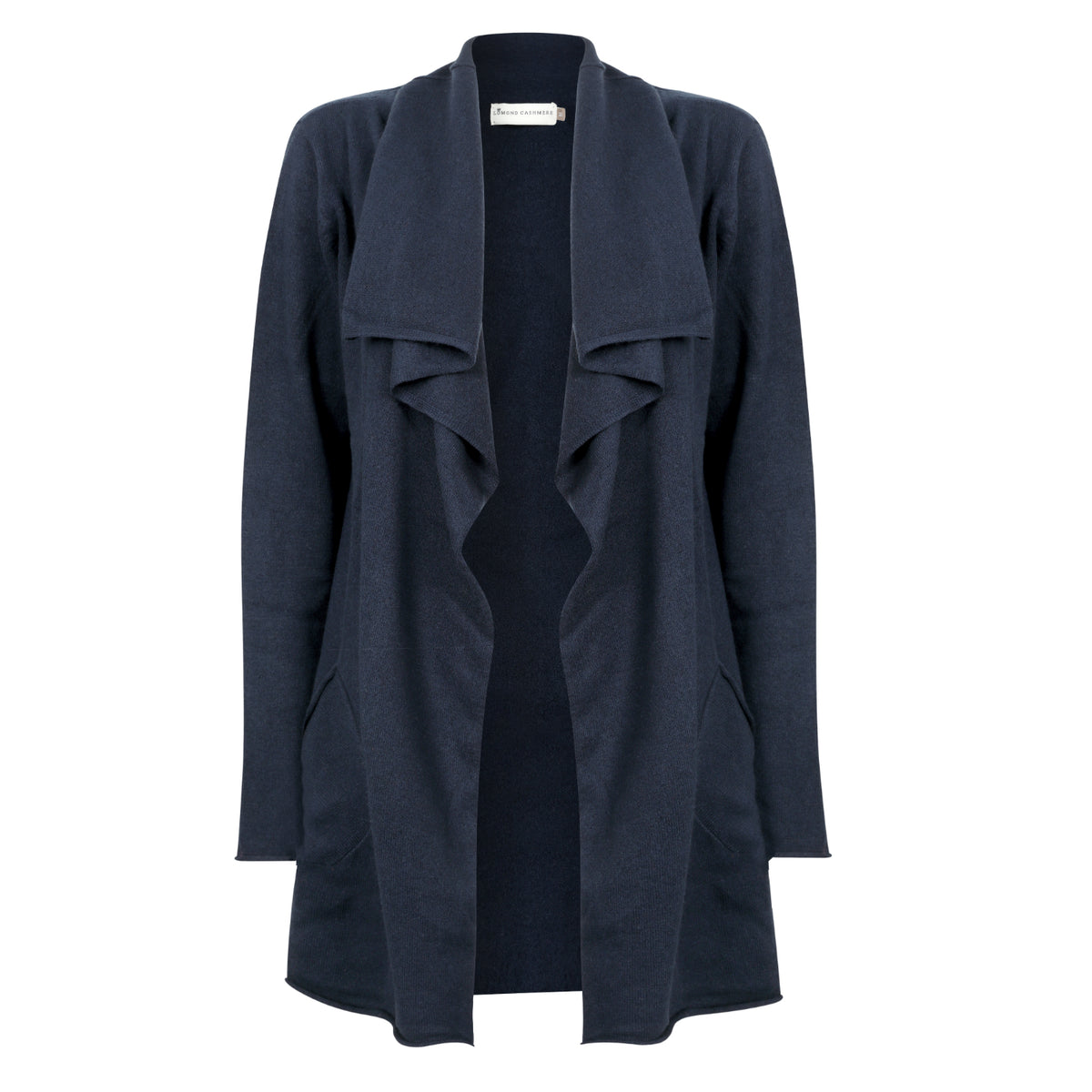 Ladies Open Long Waterfall Cashmere Cardigan | Navy | Shop at The Cashmere Choice | London