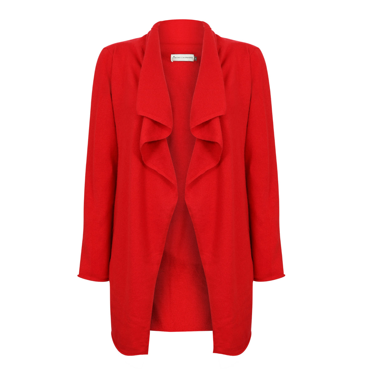 Ladies Open Long Waterfall Cashmere Cardigan | Red | Shop at The Cashmere Choice | London