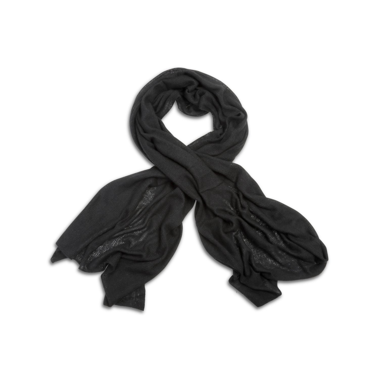 Black | Knitted Cashmere Stole | Knitted Cashmere Scarf | Shop at The Cashmere Choice | London