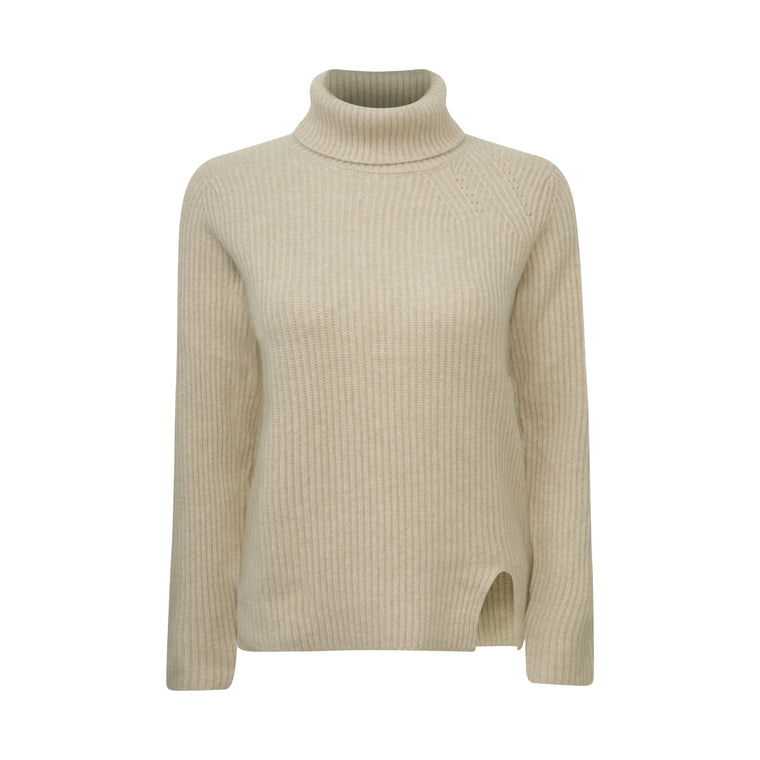 Lomond - Ladies 4 Ply Ribbed Cashmere Polo Neck