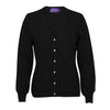 Ladies Fitted V Neck Cashmere Cardigan | Black | Shop at The Cashmere Choice | London