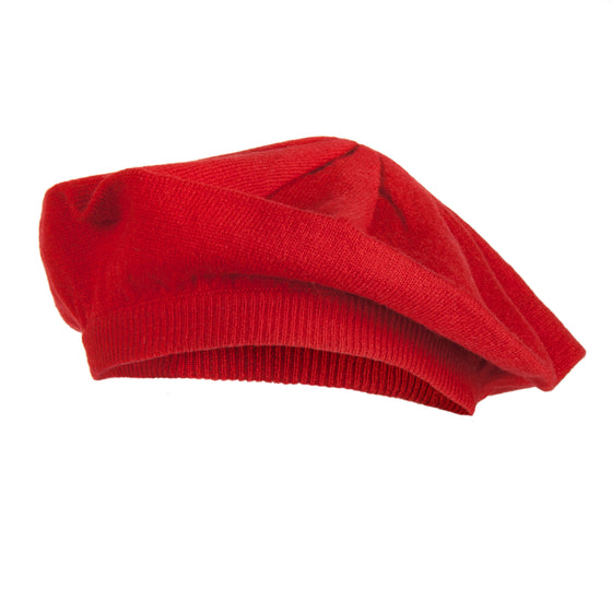 Red | Cashmere Beret | Shop at The Cashmere Choice London