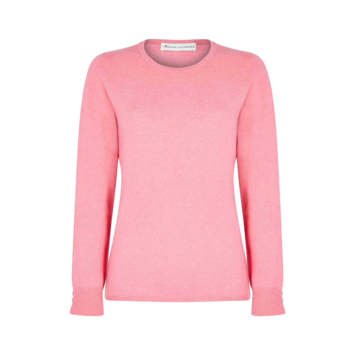 Lomond Cashmere | Ladies 2-Ply Cashmere Round Neck | Candy Pink | Shop now at The Cashmere Choice | London
