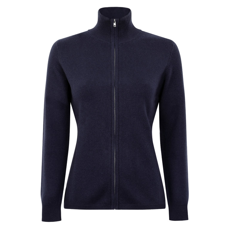 Lomond Cashmere | Ladies 2-Ply Cashmere Zip Cardigan | Navy Blue | Shop now at The Cashmere Choice | London