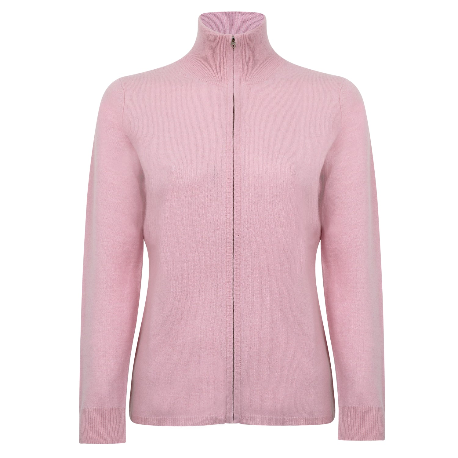 Lomond Cashmere | Ladies 2-Ply Cashmere Zip Cardigan | Powder Pink | Shop now at The Cashmere Choice | London